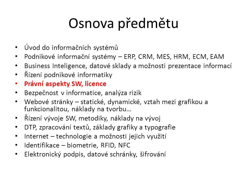 Osnova předmětu Úvod do informačních systémů