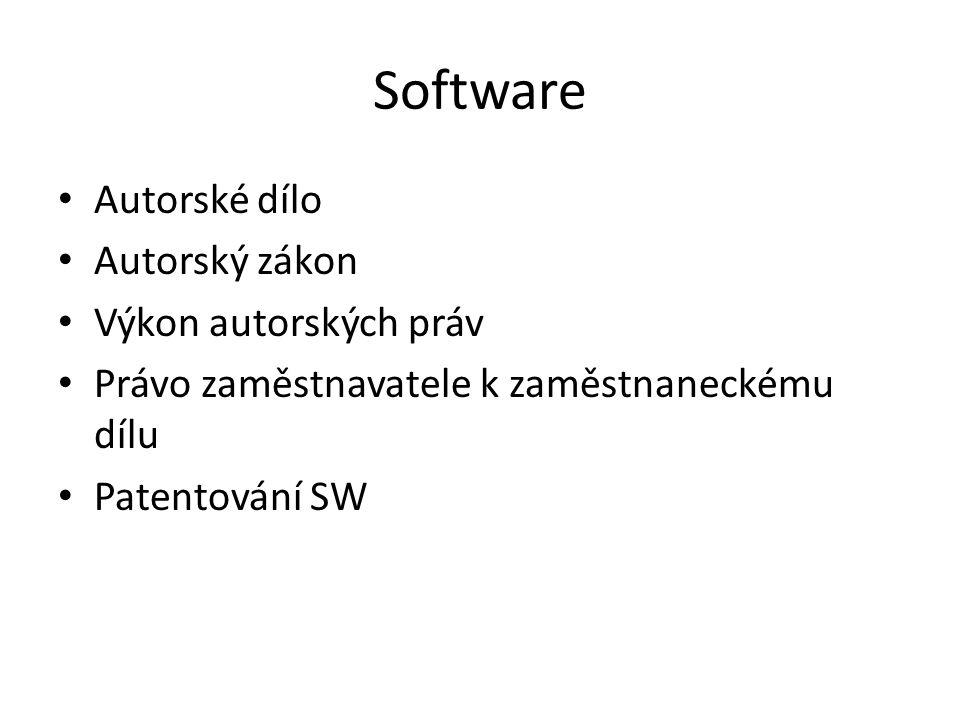 Software Autorské dílo Autorský zákon Výkon autorských práv
