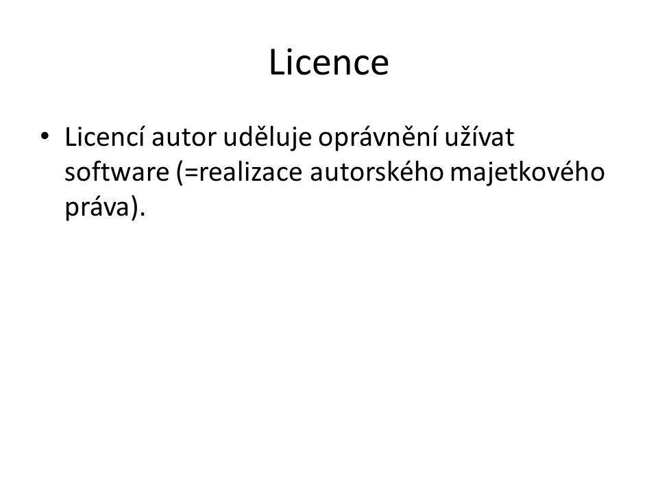 Licence Licencí autor uděluje oprávnění užívat software (=realizace autorského majetkového práva).