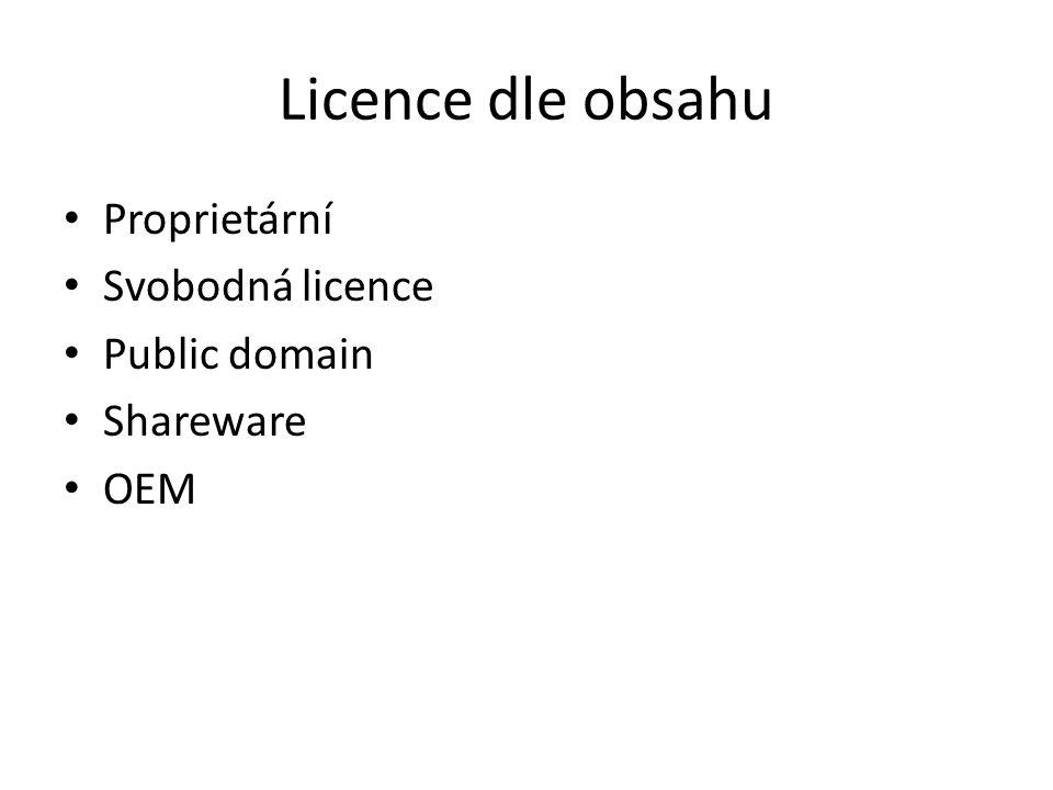 Licence dle obsahu Proprietární Svobodná licence Public domain