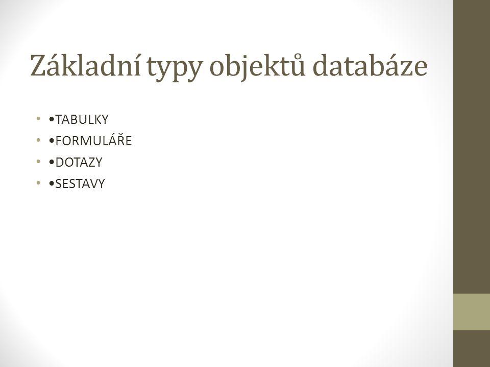 Základní typy objektů databáze