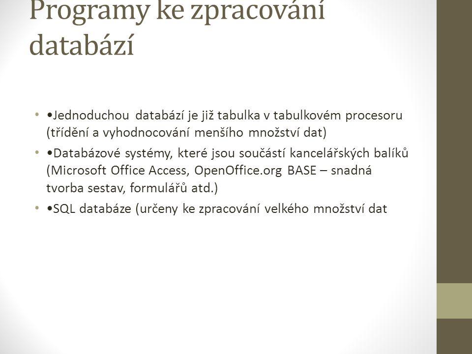 Programy ke zpracování databází