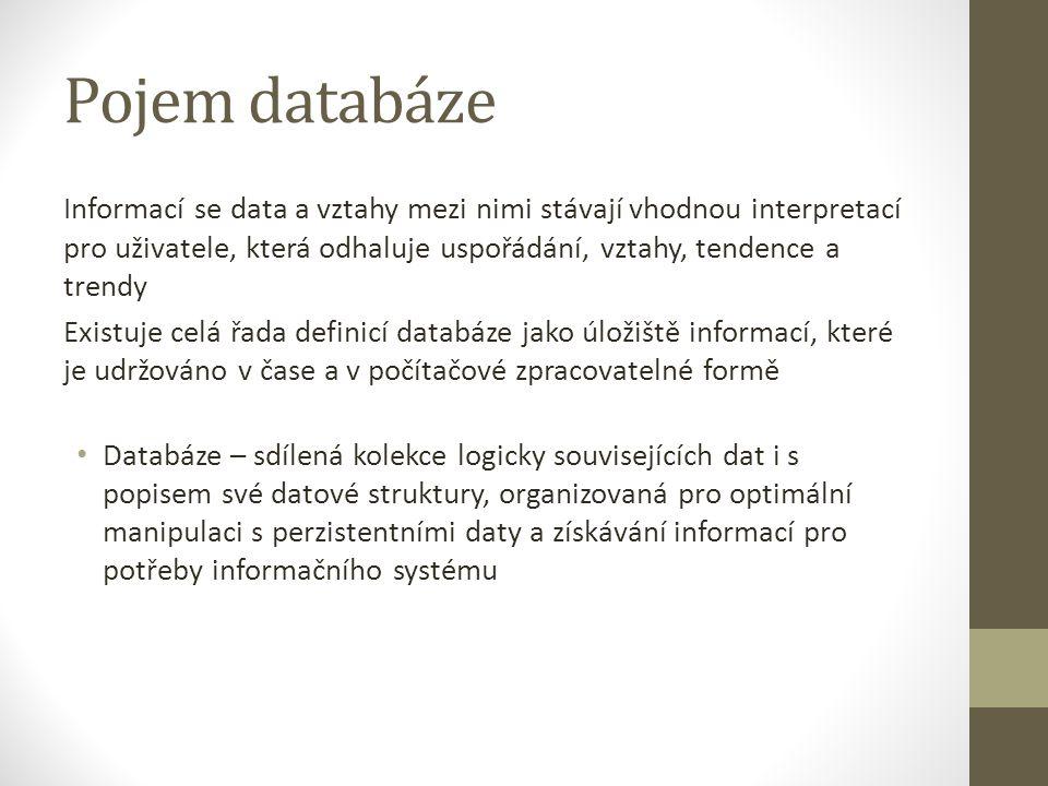 Pojem databáze Informací se data a vztahy mezi nimi stávají vhodnou interpretací pro uživatele, která odhaluje uspořádání, vztahy, tendence a trendy.