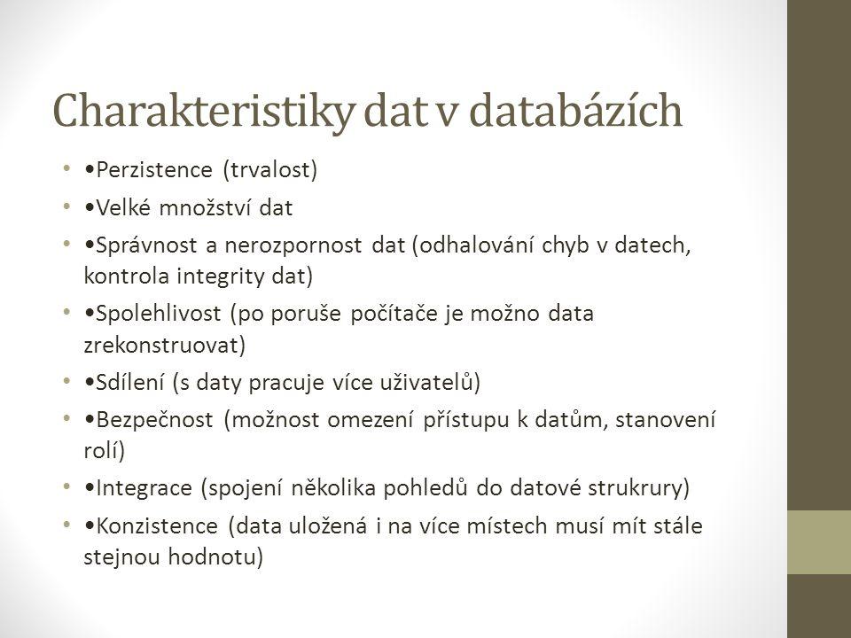 Charakteristiky dat v databázích