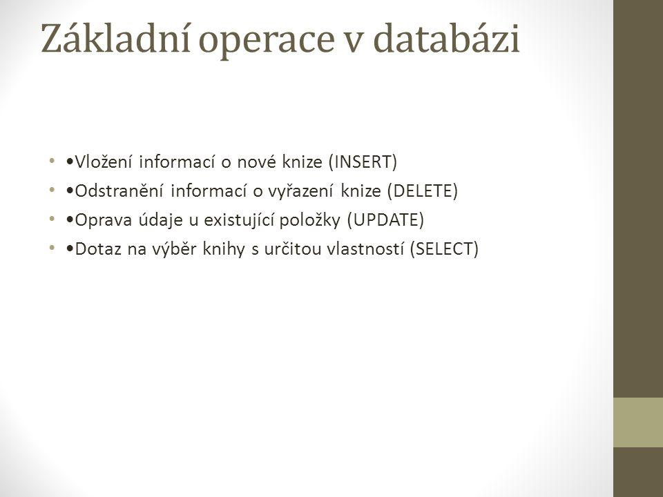 Základní operace v databázi