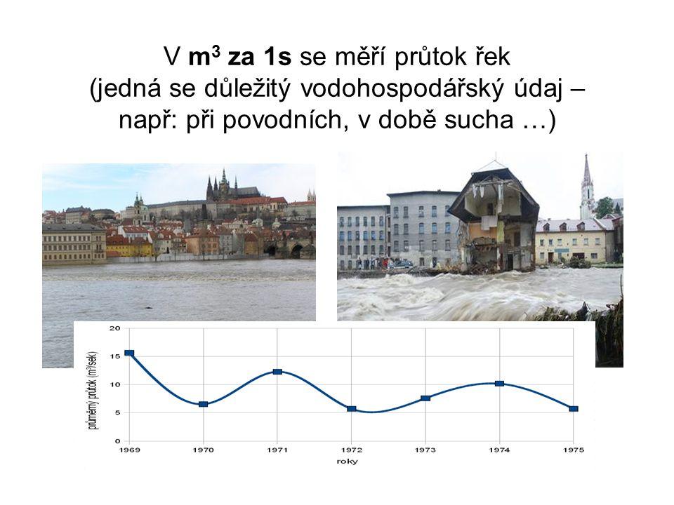 V m3 za 1s se měří průtok řek (jedná se důležitý vodohospodářský údaj – např: při povodních, v době sucha …)