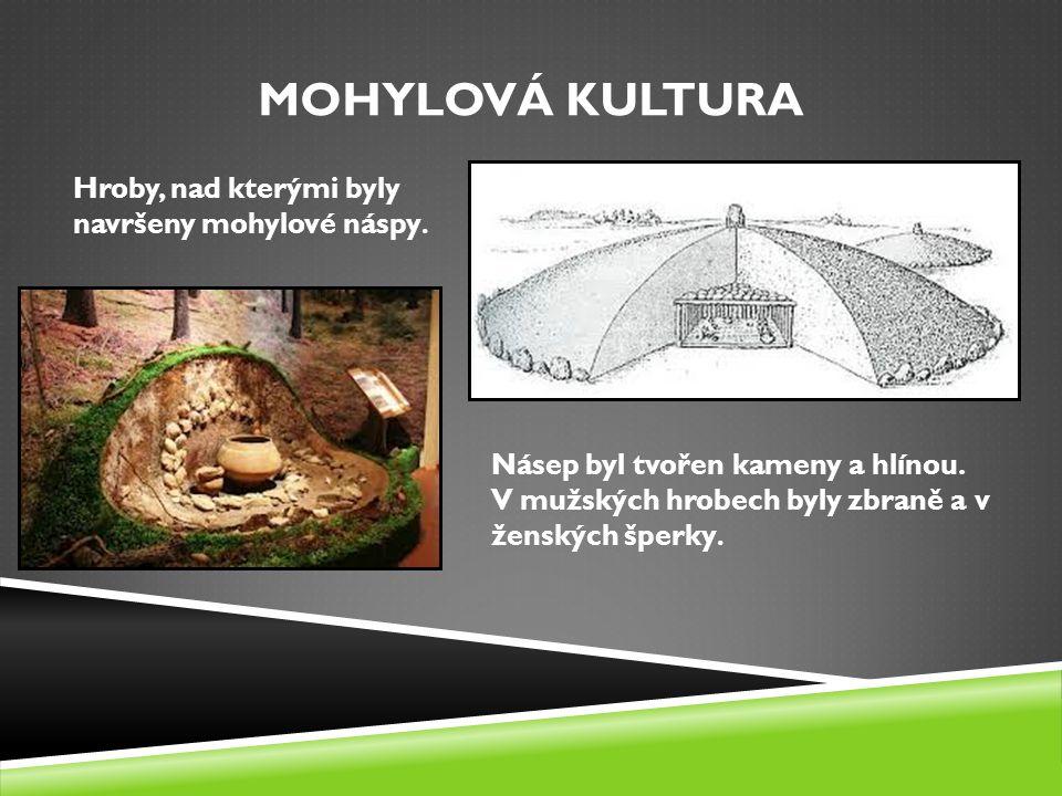 Mohylová kultura Hroby, nad kterými byly navršeny mohylové náspy.