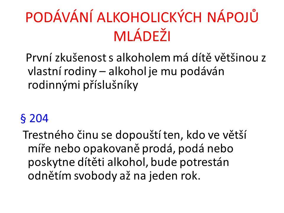 PODÁVÁNÍ ALKOHOLICKÝCH NÁPOJŮ MLÁDEŽI