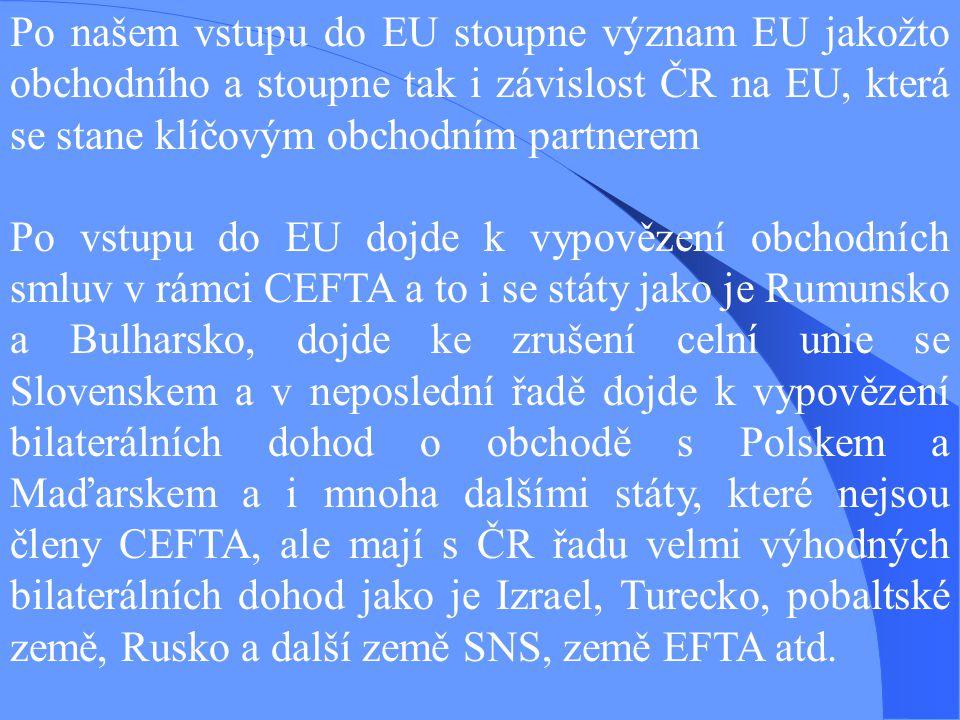 Po našem vstupu do EU stoupne význam EU jakožto obchodního a stoupne tak i závislost ČR na EU, která se stane klíčovým obchodním partnerem