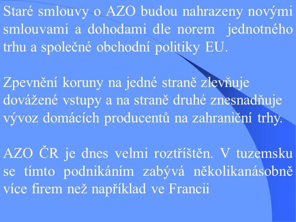 Staré smlouvy o AZO budou nahrazeny novými smlouvami a dohodami dle norem jednotného trhu a společné obchodní politiky EU.