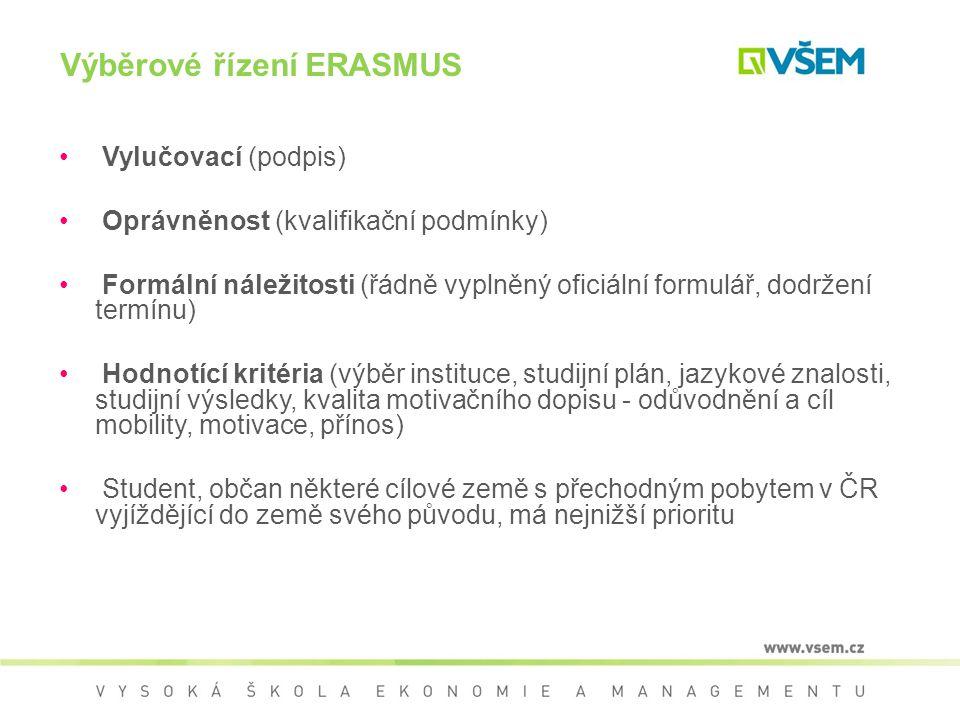 Výběrové řízení ERASMUS