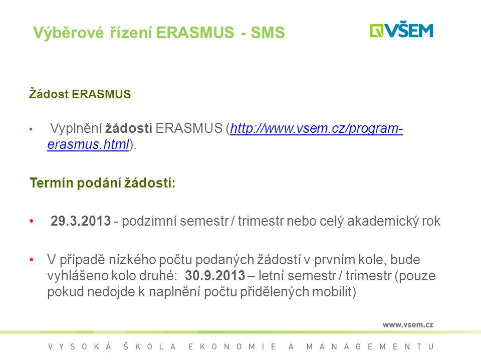 Výběrové řízení ERASMUS - SMS