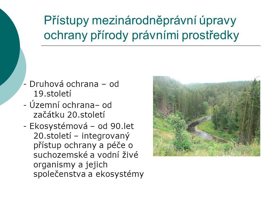 Přístupy mezinárodněprávní úpravy ochrany přírody právními prostředky