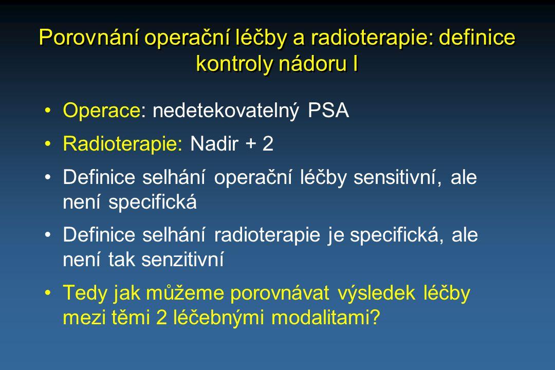 Porovnání operační léčby a radioterapie: definice kontroly nádoru I