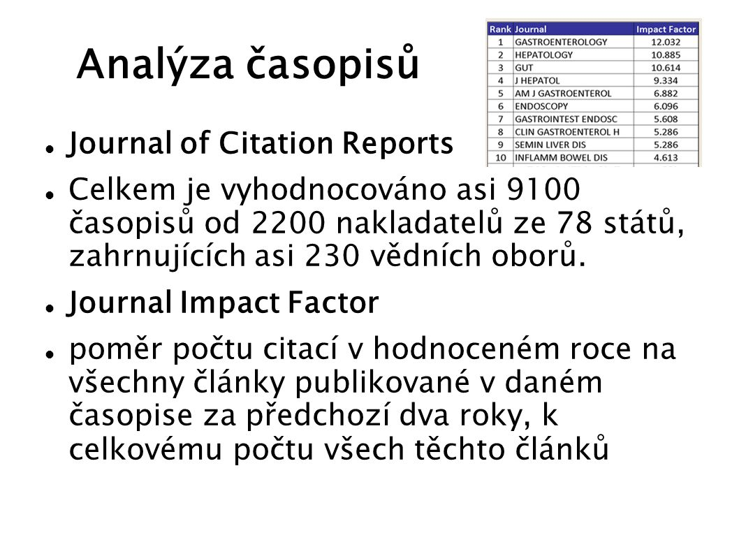 Analýza časopisů Journal of Citation Reports