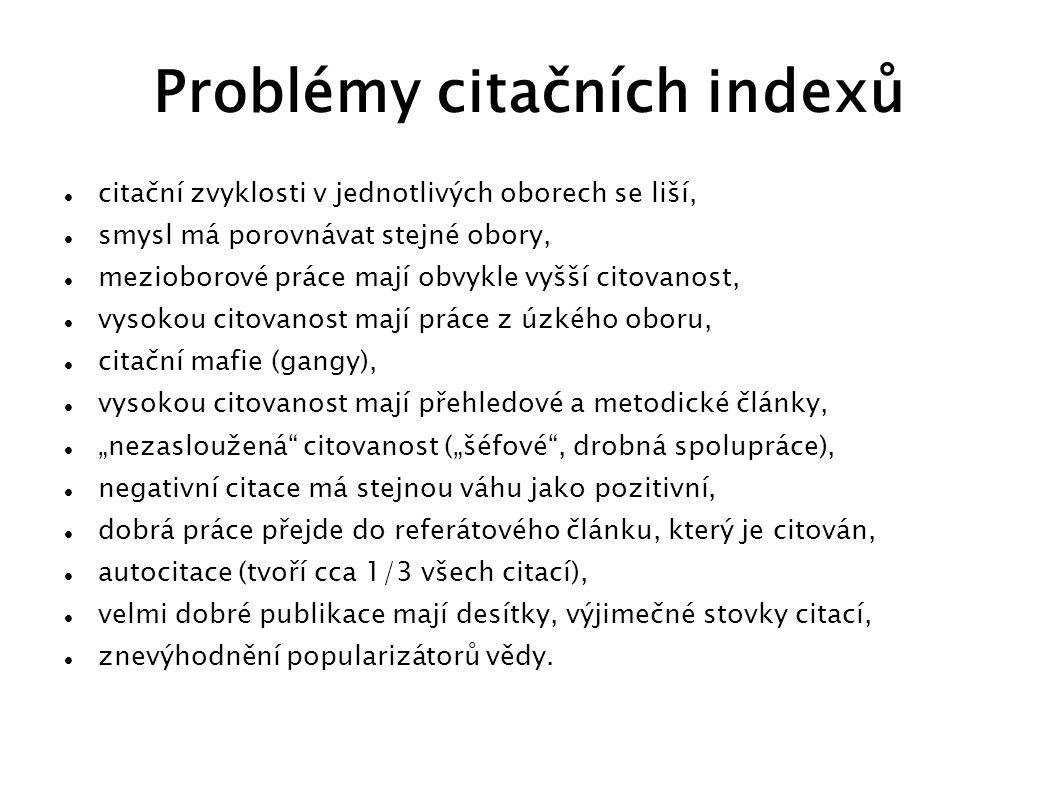 Problémy citačních indexů