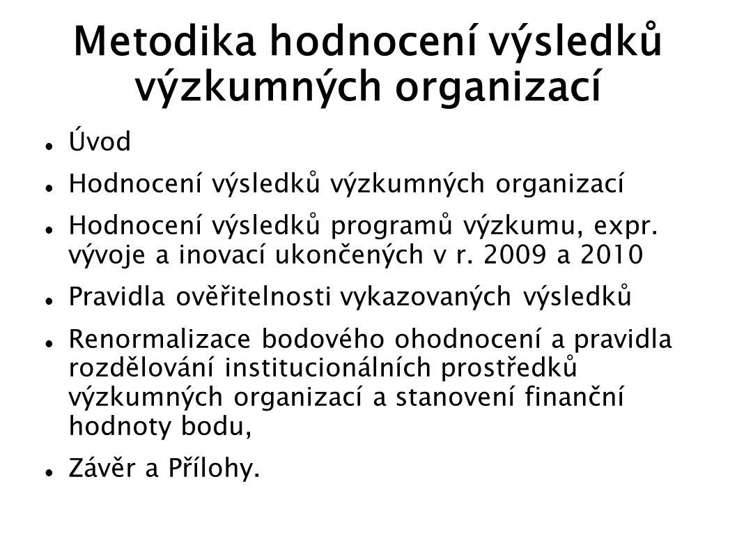 Metodika hodnocení výsledků výzkumných organizací