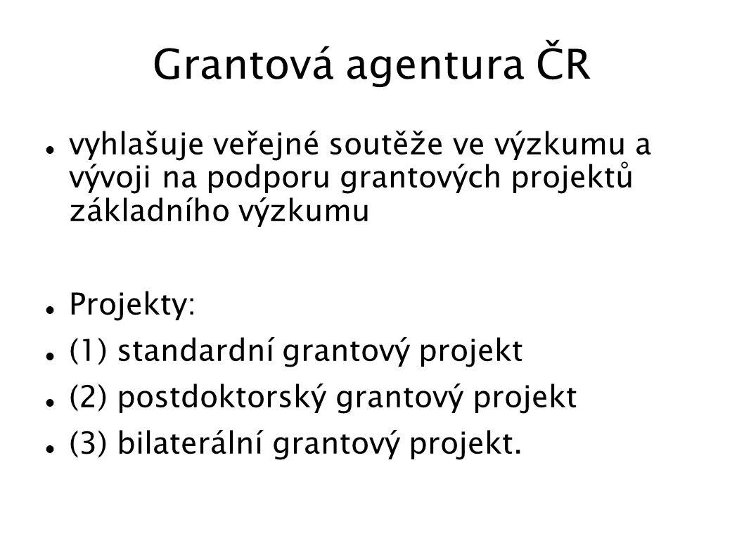 Grantová agentura ČR vyhlašuje veřejné soutěže ve výzkumu a vývoji na podporu grantových projektů základního výzkumu.