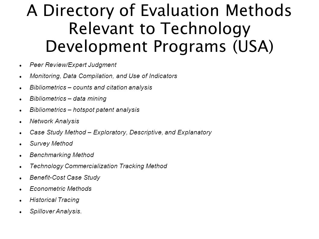 A Directory of Evaluation Methods Relevant to Technology Development Programs (USA)