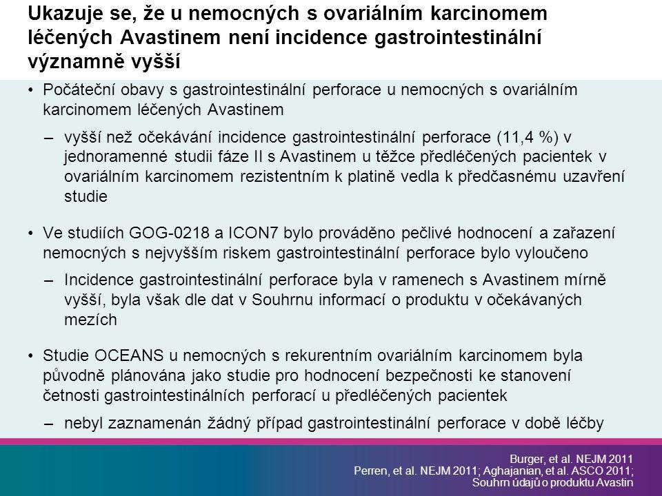 Ukazuje se, že u nemocných s ovariálním karcinomem léčených Avastinem není incidence gastrointestinální významně vyšší