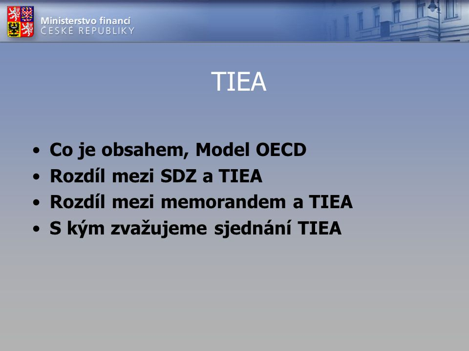 TIEA Co je obsahem, Model OECD Rozdíl mezi SDZ a TIEA