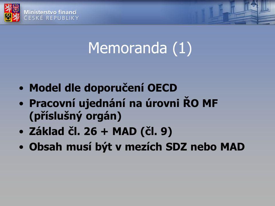 Memoranda (1) Model dle doporučení OECD