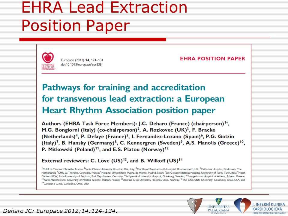 EHRA Lead Extraction Position Paper