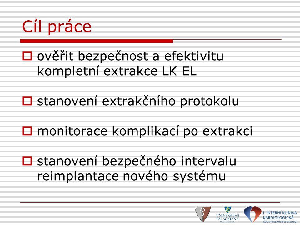 Cíl práce ověřit bezpečnost a efektivitu kompletní extrakce LK EL
