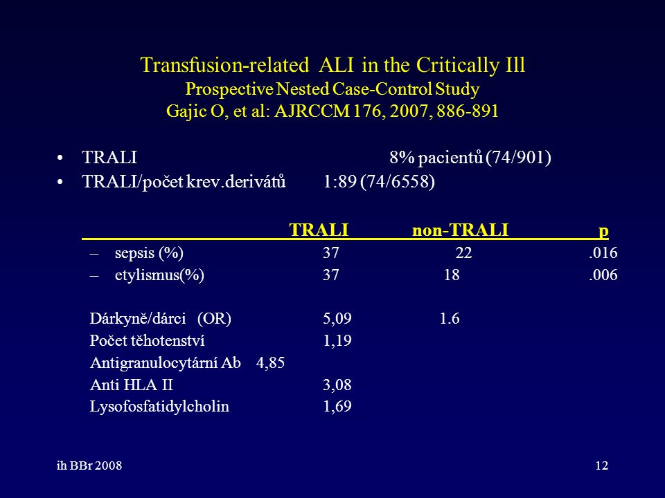 Transfusion-related ALI in the Critically Ill Prospective Nested Case-Control Study Gajic O, et al: AJRCCM 176, 2007, 886-891