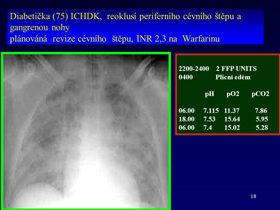 Diabetička (75) ICHDK, reoklusí periferního cévního štěpu a gangrenou nohy plánováná revize cévního štěpu, INR 2,3 na Warfarinu