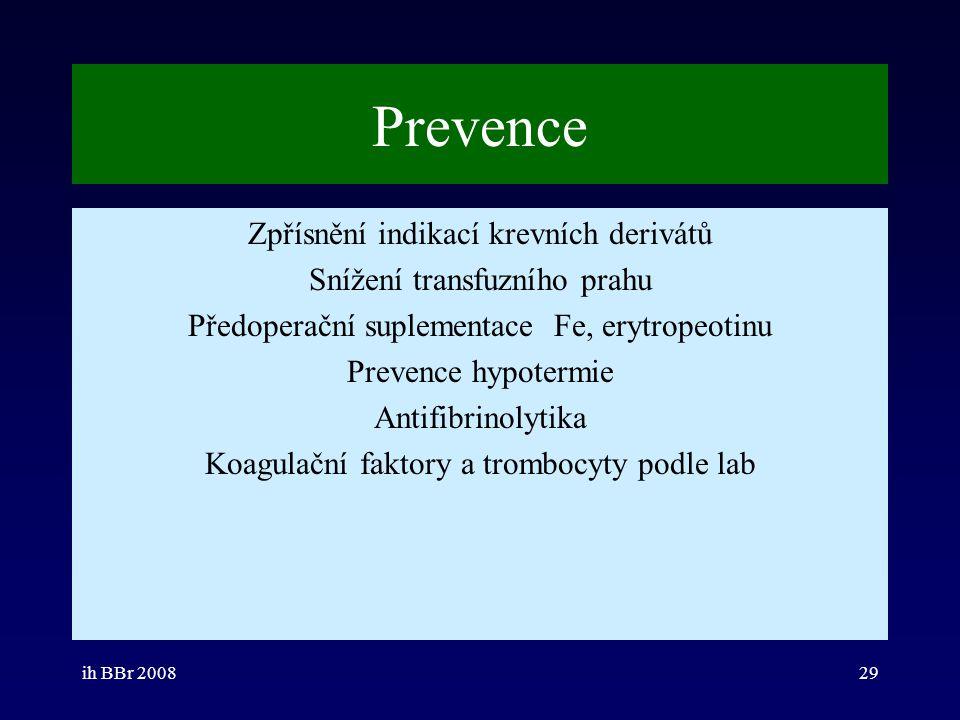 Prevence Zpřísnění indikací krevních derivátů