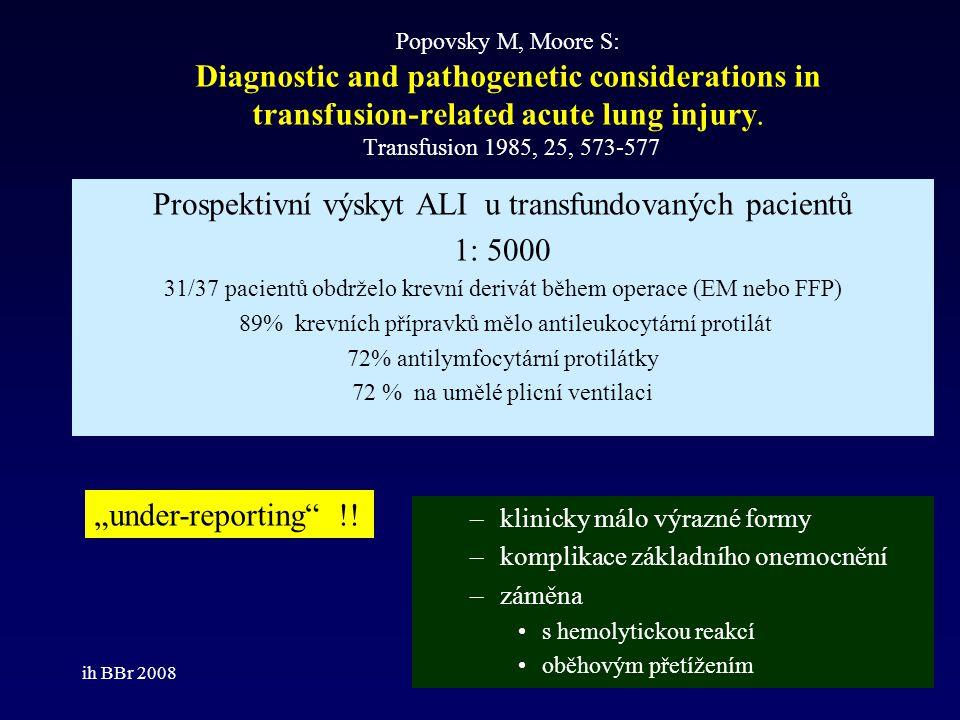 Prospektivní výskyt ALI u transfundovaných pacientů 1: 5000