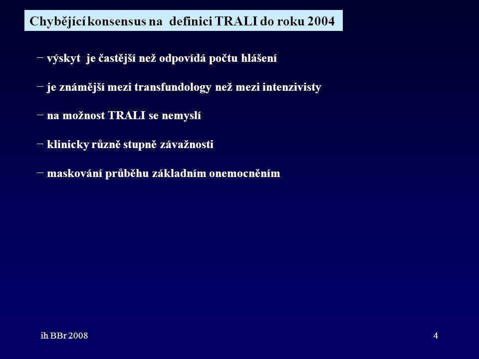 Chybějící konsensus na definici TRALI do roku 2004