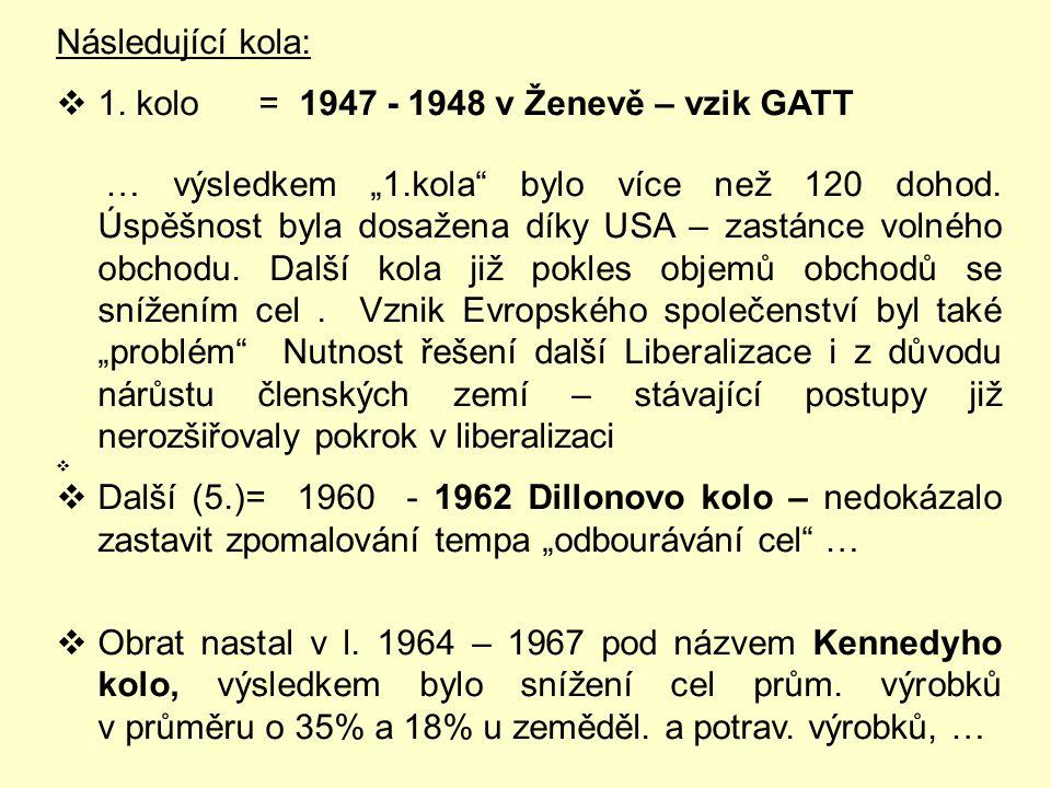 Následující kola: 1. kolo = 1947 - 1948 v Ženevě – vzik GATT.