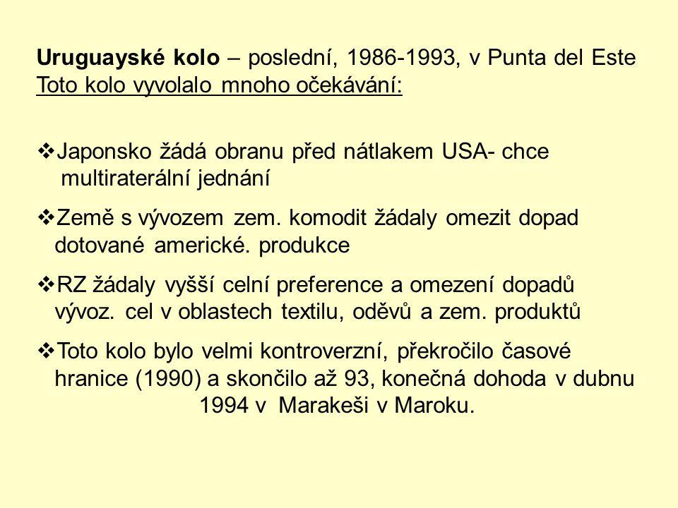 Uruguayské kolo – poslední, 1986-1993, v Punta del Este Toto kolo vyvolalo mnoho očekávání: