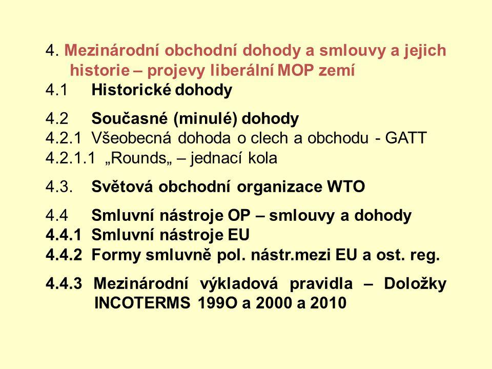 4. Mezinárodní obchodní dohody a smlouvy a jejich historie – projevy liberální MOP zemí