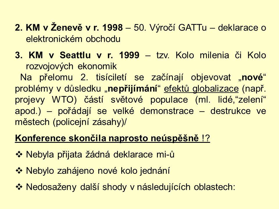 2. KM v Ženevě v r. 1998 – 50. Výročí GATTu – deklarace o elektronickém obchodu