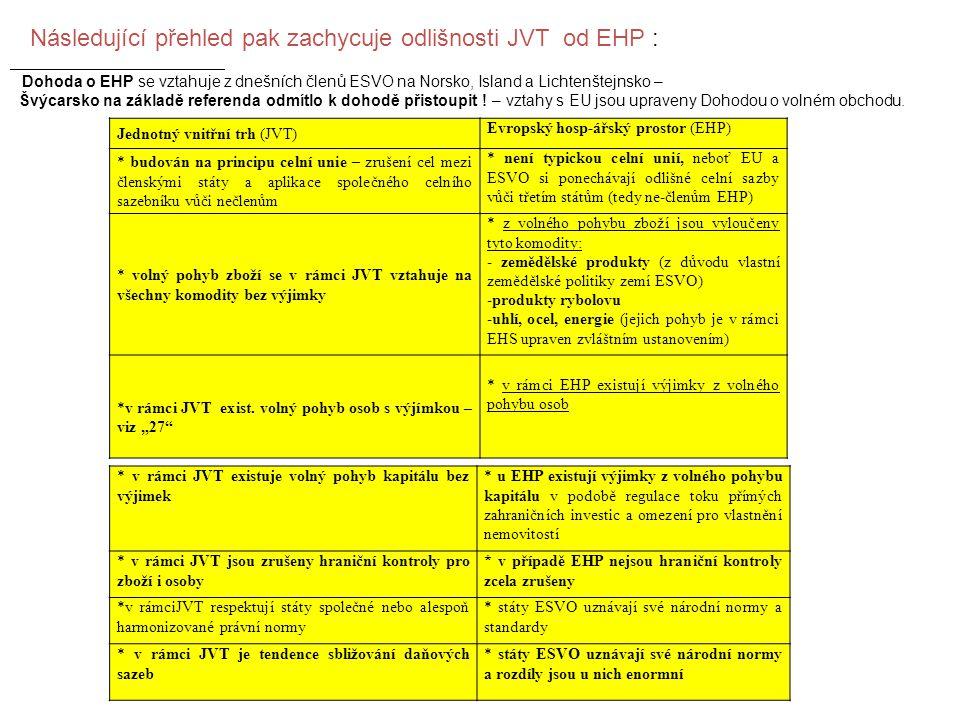 Následující přehled pak zachycuje odlišnosti JVT od EHP :