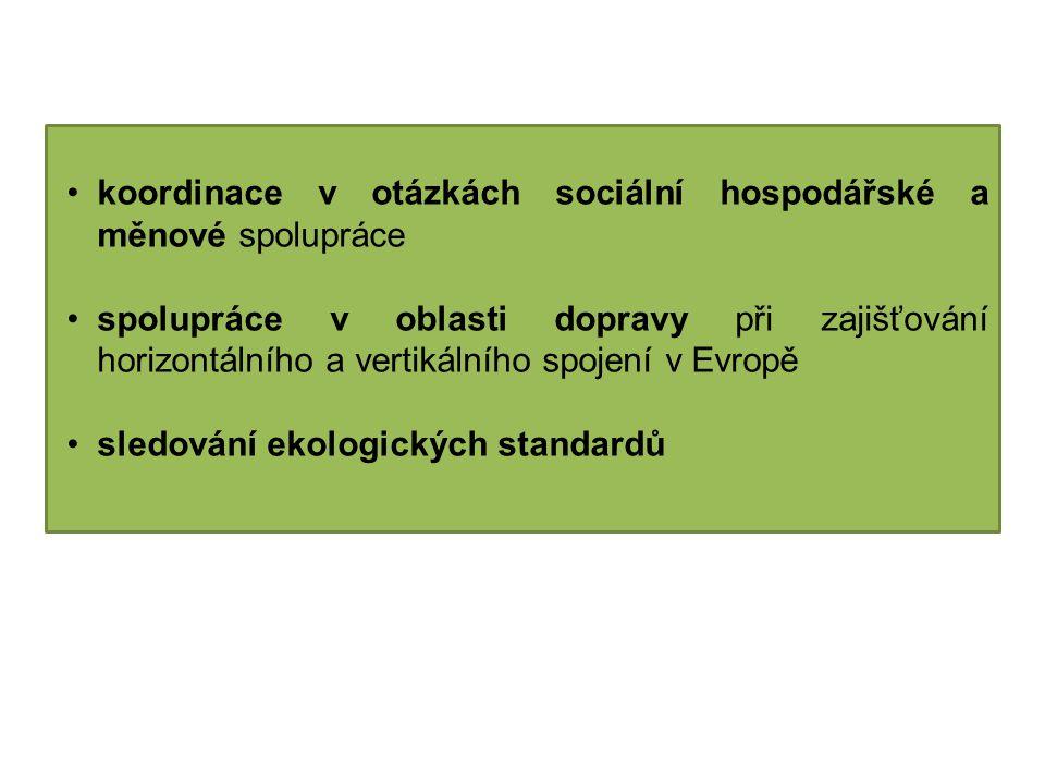 koordinace v otázkách sociální hospodářské a měnové spolupráce