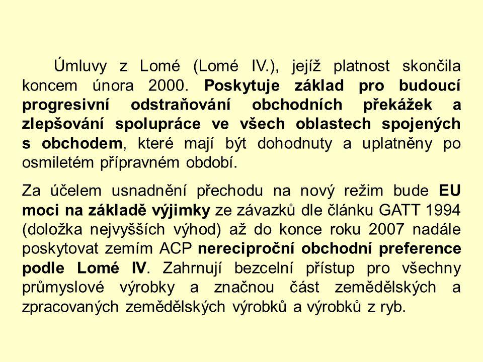 Úmluvy z Lomé (Lomé IV. ), jejíž platnost skončila koncem února 2000