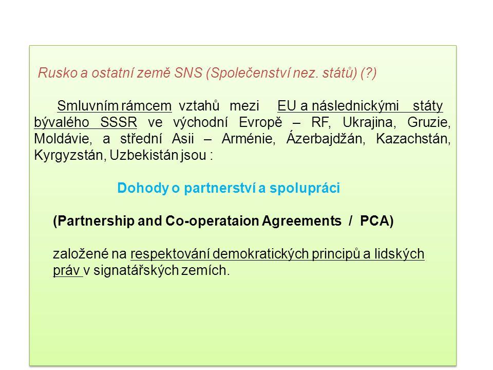 Rusko a ostatní země SNS (Společenství nez. států) ( )