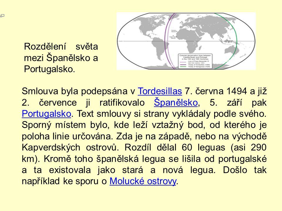Rozdělení světa mezi Španělsko a Portugalsko.