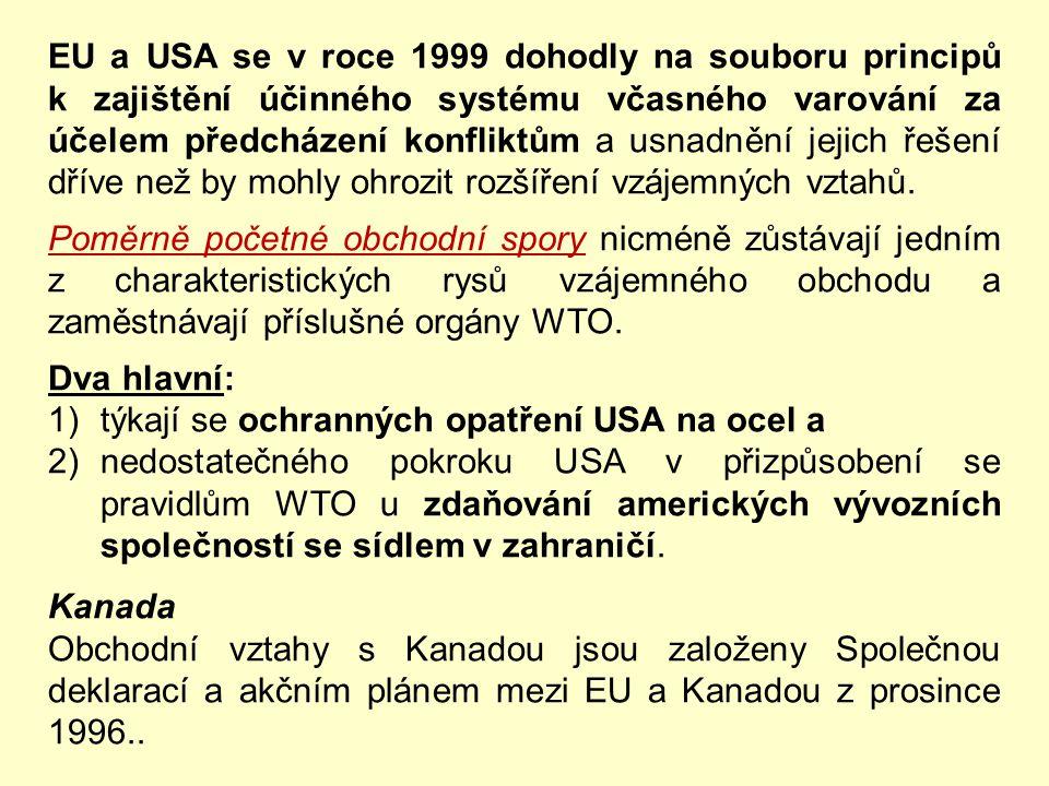 EU a USA se v roce 1999 dohodly na souboru principů k zajištění účinného systému včasného varování za účelem předcházení konfliktům a usnadnění jejich řešení dříve než by mohly ohrozit rozšíření vzájemných vztahů.