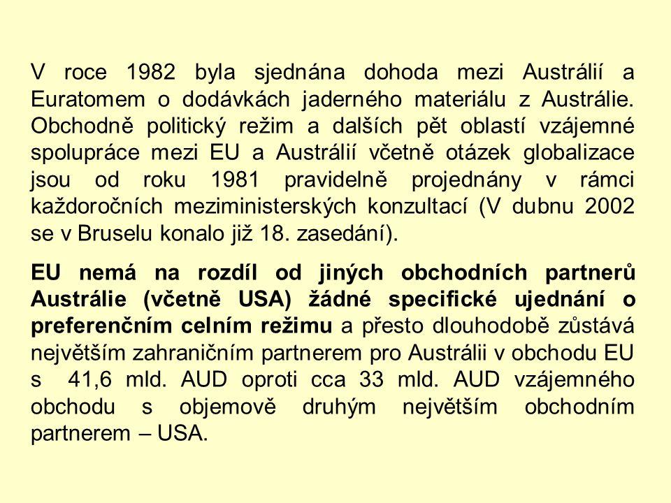 V roce 1982 byla sjednána dohoda mezi Austrálií a Euratomem o dodávkách jaderného materiálu z Austrálie. Obchodně politický režim a dalších pět oblastí vzájemné spolupráce mezi EU a Austrálií včetně otázek globalizace jsou od roku 1981 pravidelně projednány v rámci každoročních meziministerských konzultací (V dubnu 2002 se v Bruselu konalo již 18. zasedání).