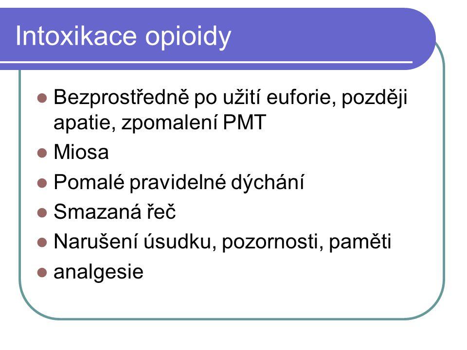 Intoxikace opioidy Bezprostředně po užití euforie, později apatie, zpomalení PMT. Miosa. Pomalé pravidelné dýchání.