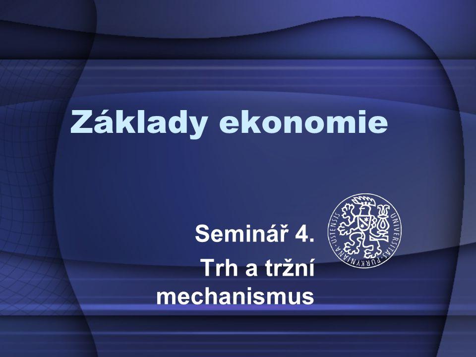 Seminář 4. Trh a tržní mechanismus