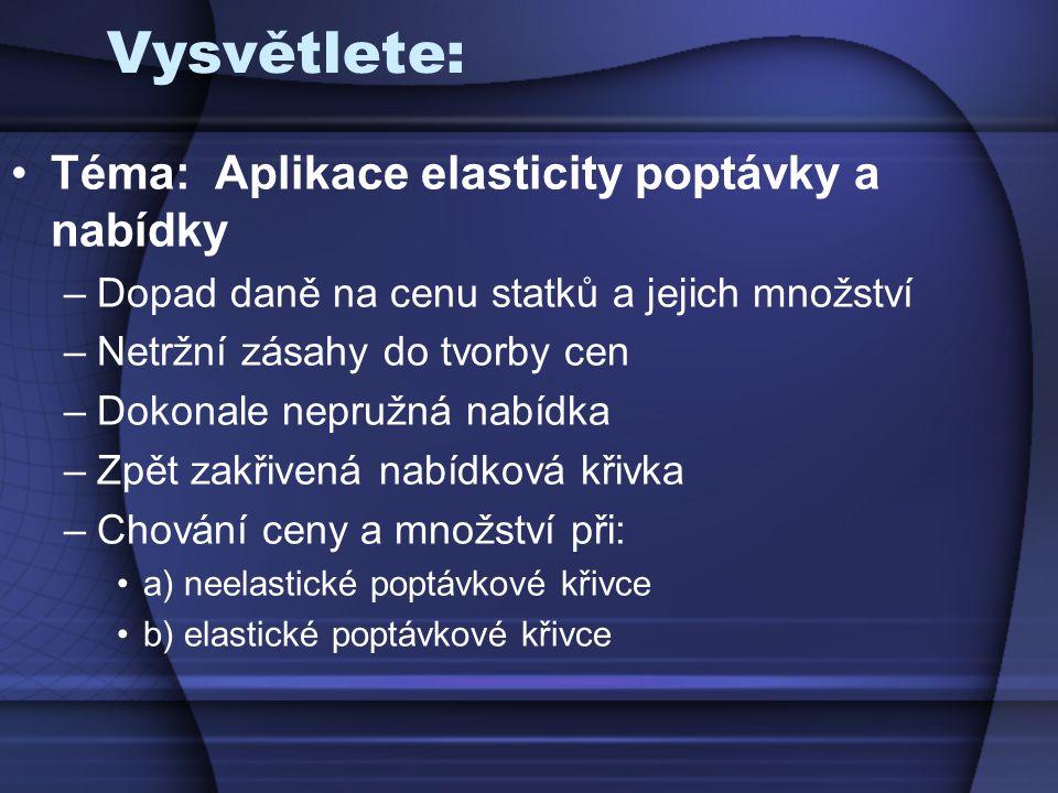 Vysvětlete: Téma: Aplikace elasticity poptávky a nabídky