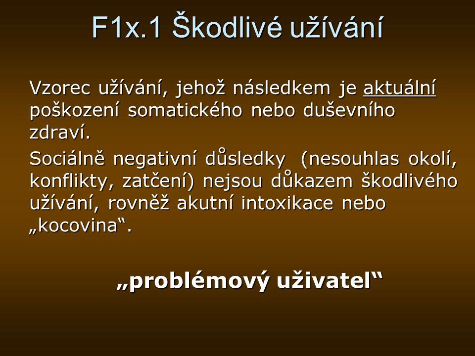 """F1x.1 Škodlivé užívání """"problémový uživatel"""