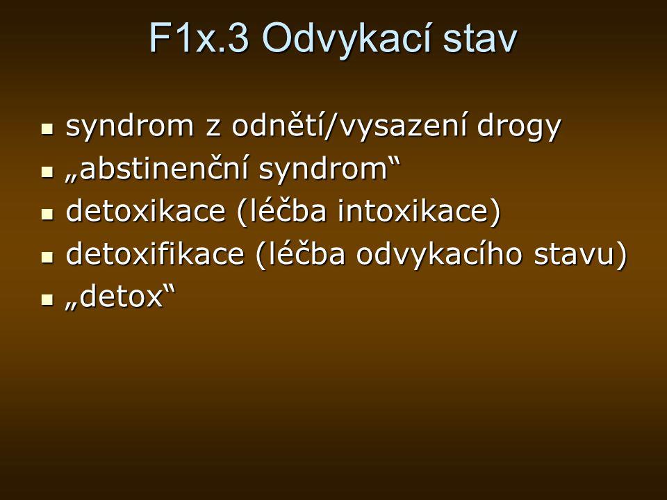 F1x.3 Odvykací stav syndrom z odnětí/vysazení drogy