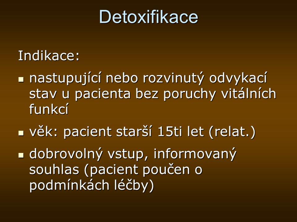 Detoxifikace Indikace:
